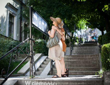 Augustyn Czyżowicz – fotografie  [plenerowa galeria fotografii  w Zaułku Hartwigów w Lublinie,  na zdjęciu wystawa fotografii oglądana przez dwie osoby]