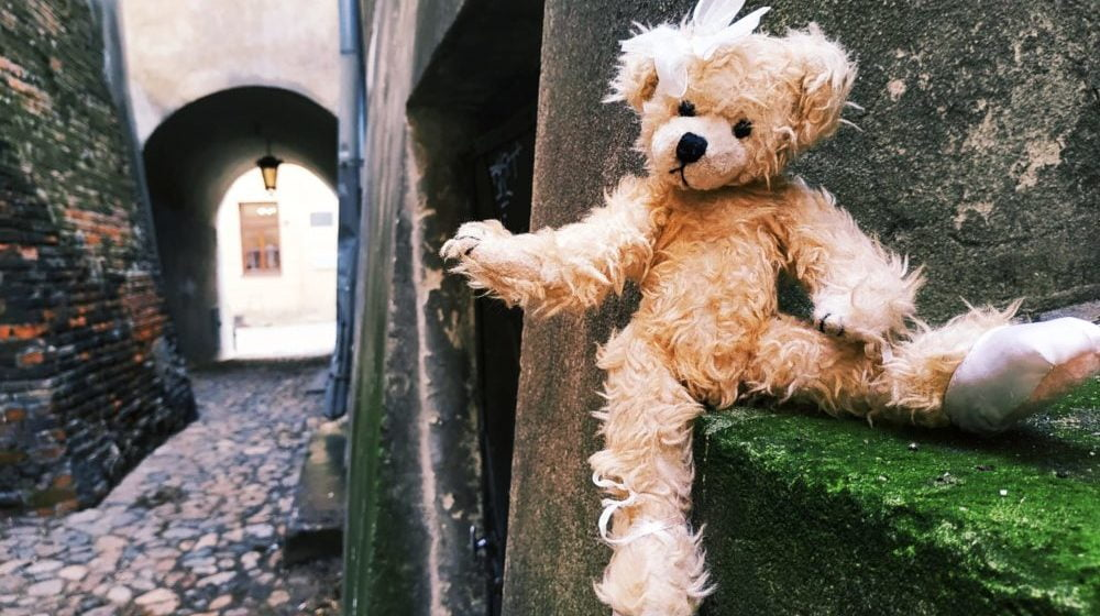 Pluszowy miś sfotografowany w jednej z bram lubelskiego Starego Miasta.