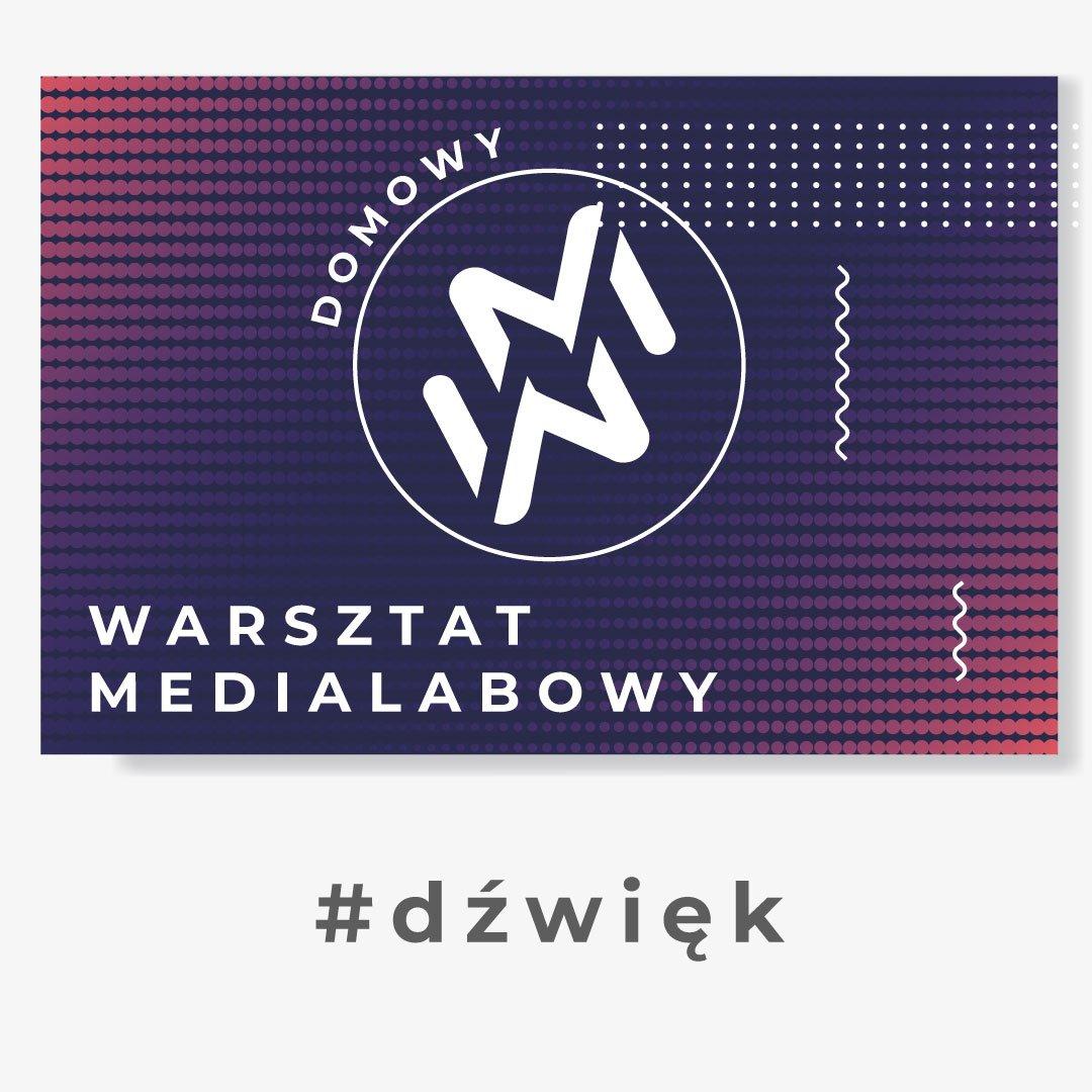 """Grafika przedstawia logo """"domowy warsztat medialabowy"""". Znak zamknięty w kole, złożony z dwóch ułożonych lustrzanie liter W oraz M. W tle białe, granatowe, fioletowe i czerwone kropki. Pod grafiką napis #dźwięk"""