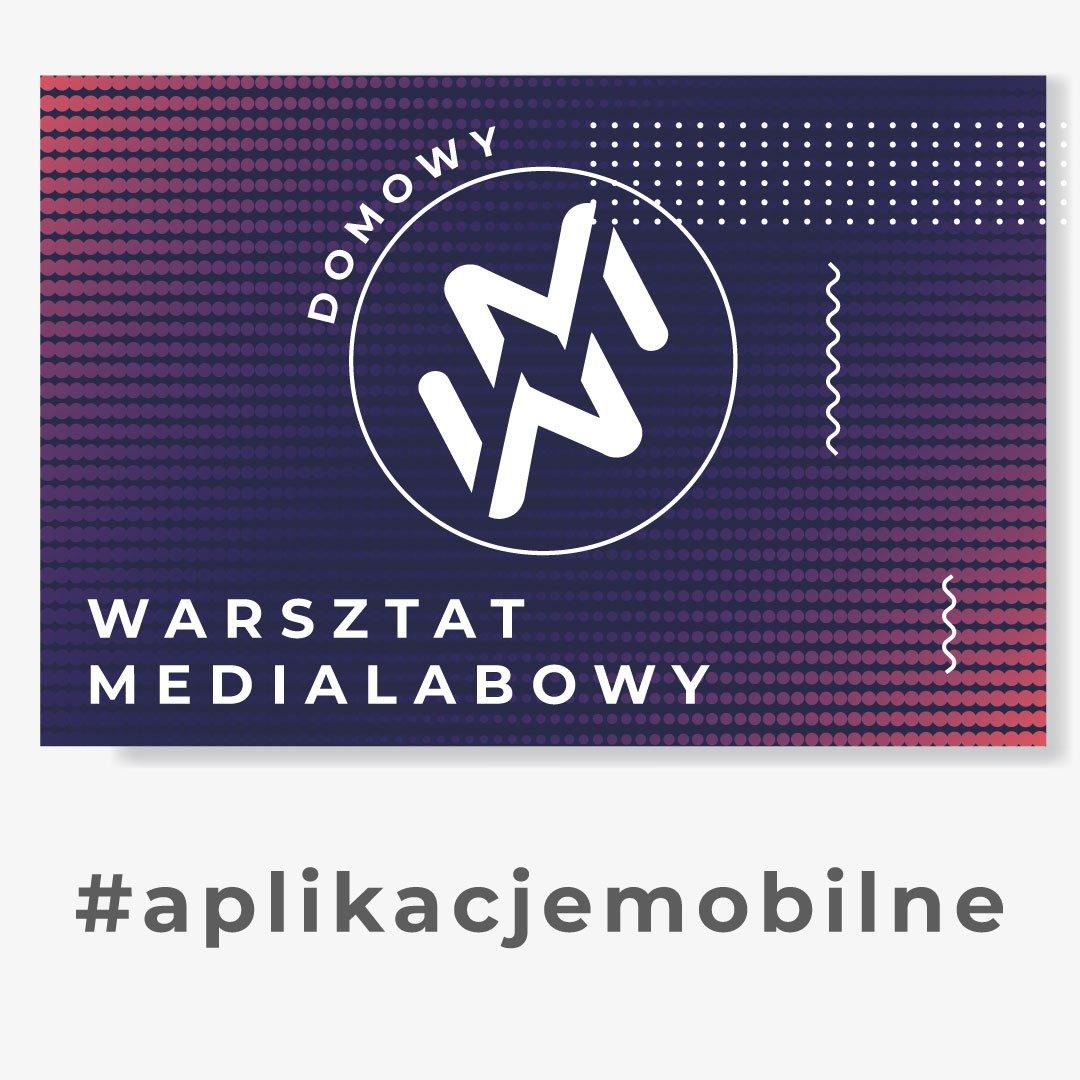 """Grafika przedstawia logo """"domowy warsztat medialabowy"""". Znak zamknięty w kole, złożony z dwóch ułożonych lustrzanie liter W oraz M. W tle białe, granatowe, fioletowe i czerwone kropki. Pod grafiką napis #aplikacjemobilne"""