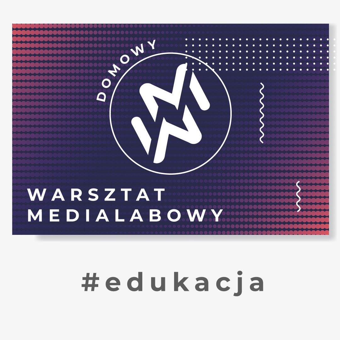"""Grafika przedstawia logo """"domowy warsztat medialabowy"""". Znak zamknięty w kole, złożony z dwóch ułożonych lustrzanie liter W oraz M. W tle białe, granatowe, fioletowe i czerwone kropki."""