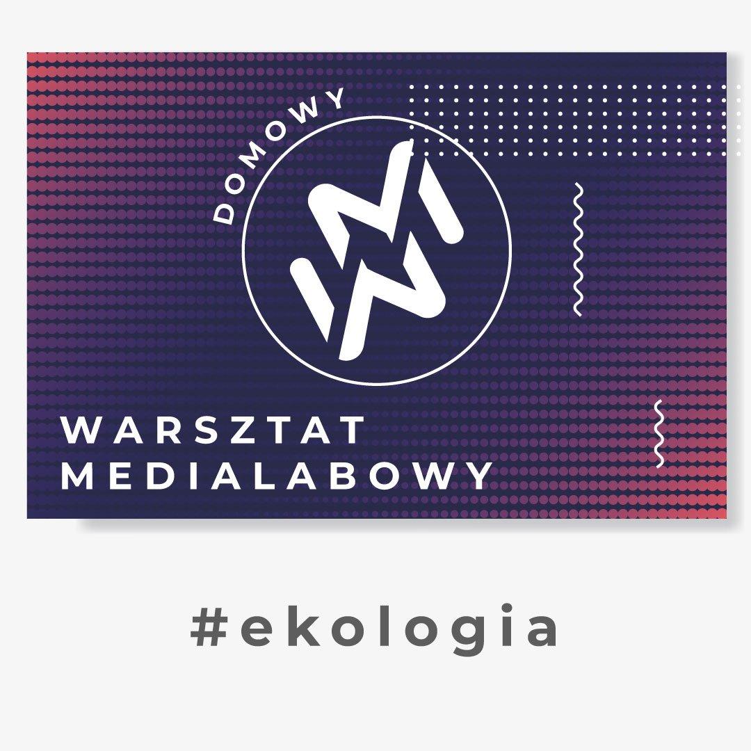 """Grafika przedstawia logo """"domowy warsztat medialabowy"""". Znak zamknięty w kole, złożony z dwóch ułożonych lustrzanie liter W oraz M. W tle białe, granatowe, fioletowe i czerwone kropki. Pod grafiką napis #ekologia"""