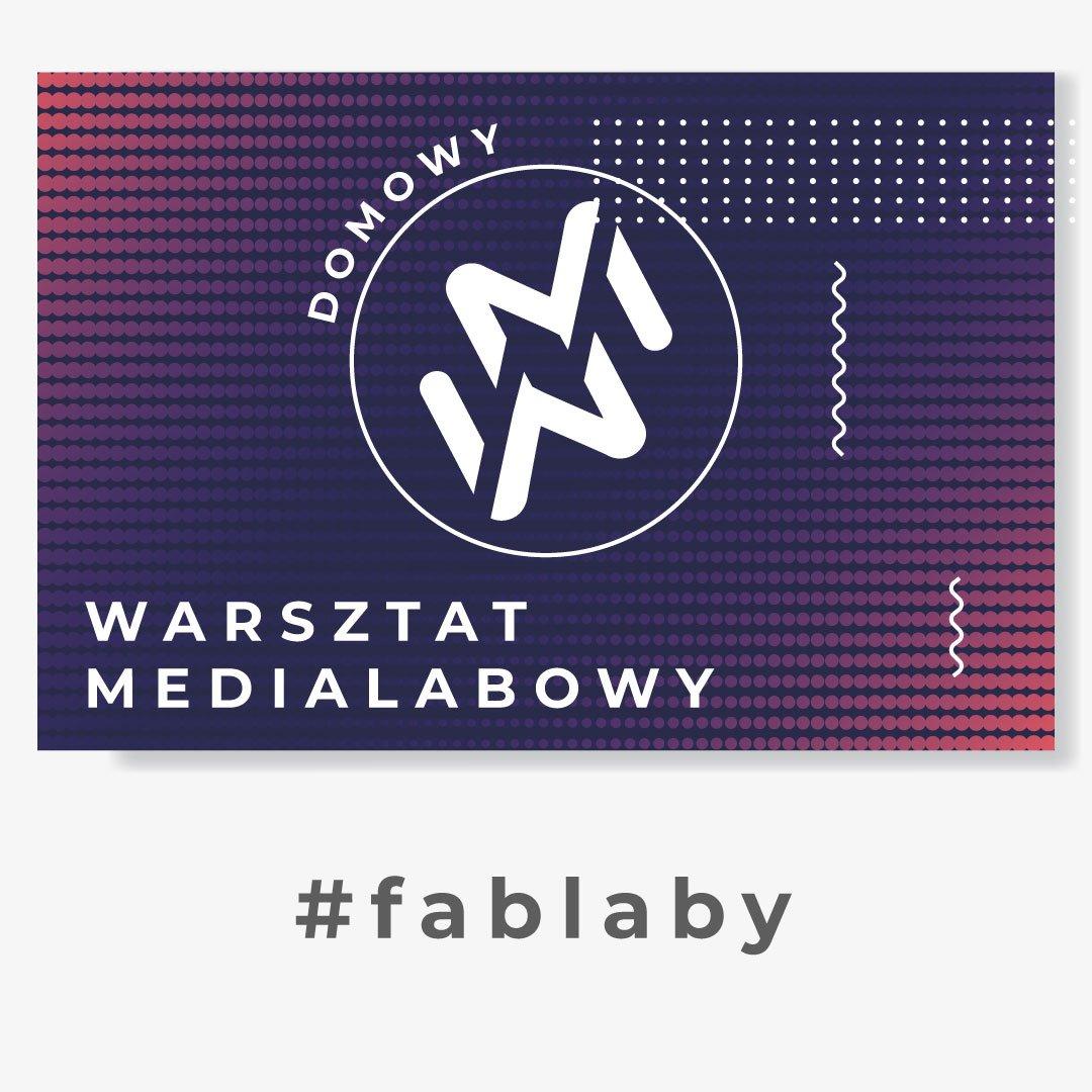 """Grafika przedstawia logo """"domowy warsztat medialabowy"""". Znak zamknięty w kole, złożony z dwóch ułożonych lustrzanie liter W oraz M. W tle białe, granatowe, fioletowe i czerwone kropki. Pod grafiką napis #fablaby"""