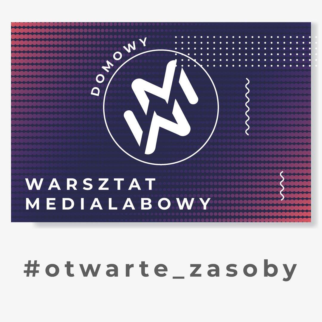 """Grafika przedstawia logo """"domowy warsztat medialabowy"""". Znak zamknięty w kole, złożony z dwóch ułożonych lustrzanie liter W oraz M. W tle białe, granatowe, fioletowe i czerwone kropki. Pod grafiką napis #otwarte_zasoby"""