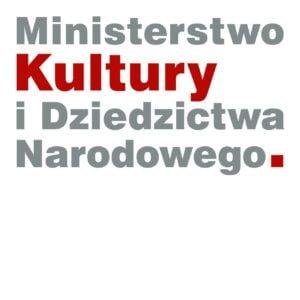 logo Ministerstwa Kultury i Dziedzictwa Narodowego - szaro czerwony zapis nazwy