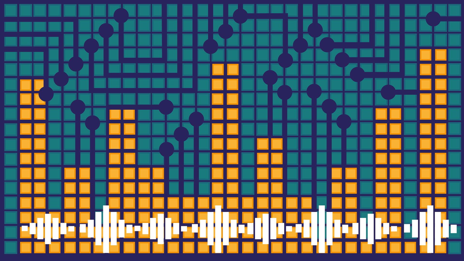 Grafika przedstawia symbol fali dźwiękowej na tle różnej wysokości słupków, symbolizujących miejski pejzaż z wieżowcami