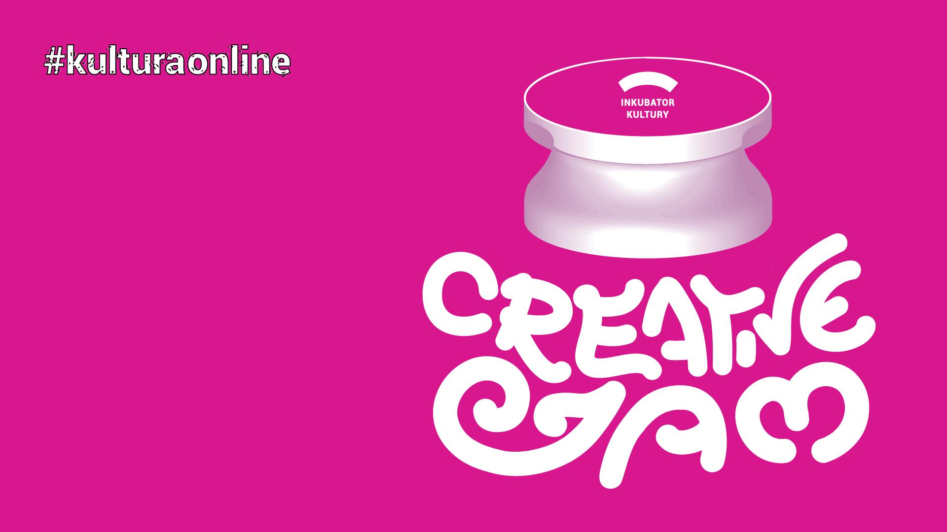 grafika promująca wydarzenie Creative Jam, różowe tło, napis #kulturaonline, napis Crealive Jam, logo Inkubator Kultury, ilustracja przypominająca słoik