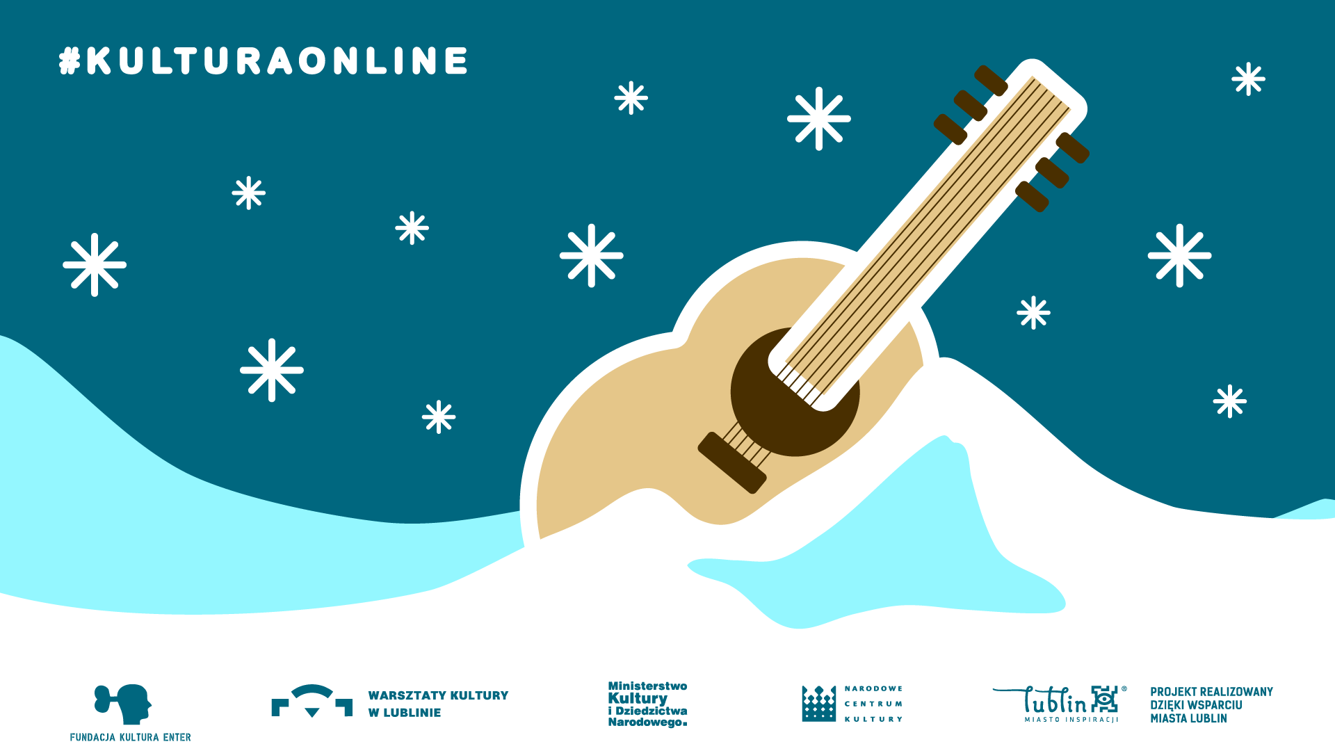 """image promoting the event, a blue sky with snowflakes, light blue icy mound with an ukulele buried in it, the word """"kulturaonline"""" in the top-left corner and logos of the organisers in the bottom-centre"""