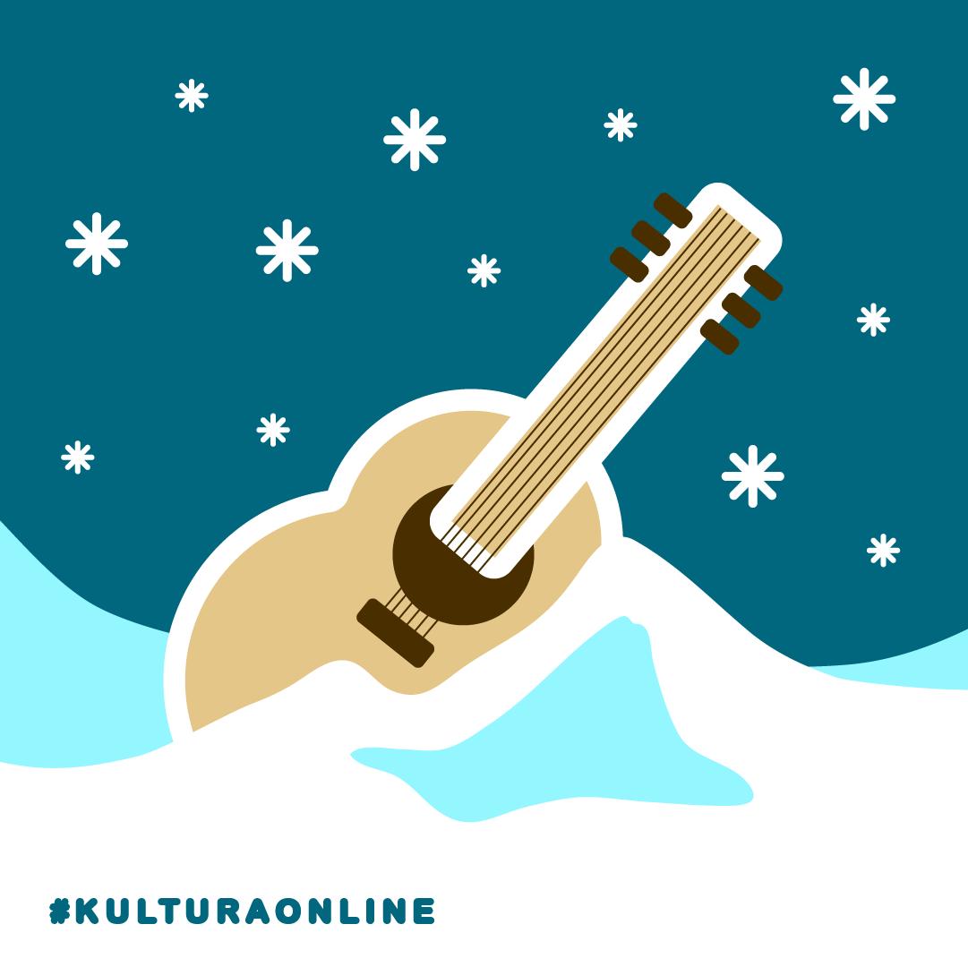 grafika reklamująca wydarzenie, niebieskie niebo z białymi płatkami śniegu, biało-seledynowa zaspa śnieżna, ukulele w zaspie, napis #kulturaonline,