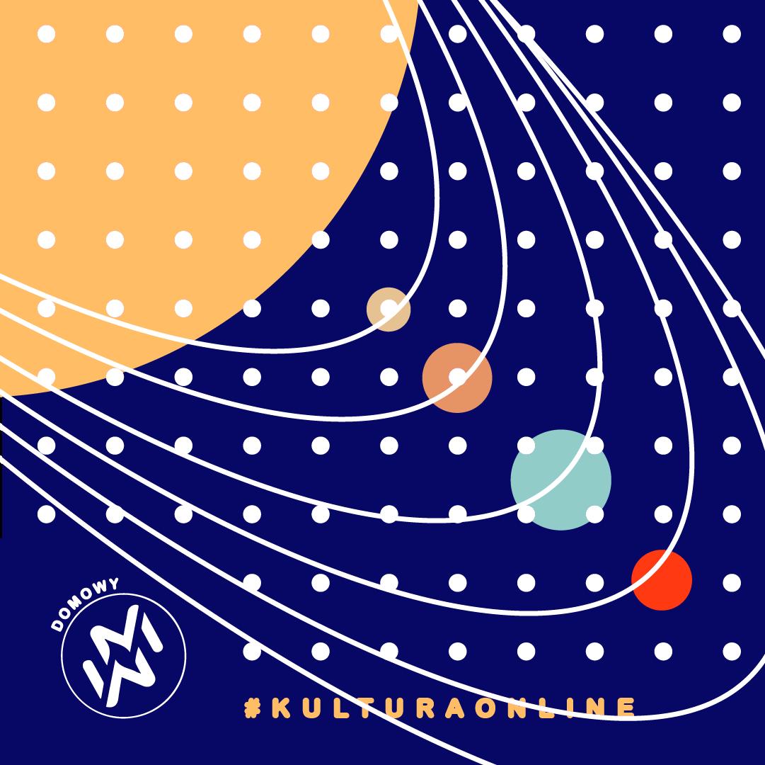 grafika reklamująca wydarzenie, ilustracja przedstawia układ słoneczny, logo domowy Warsztat Medialabowy, napis #kulturaonline