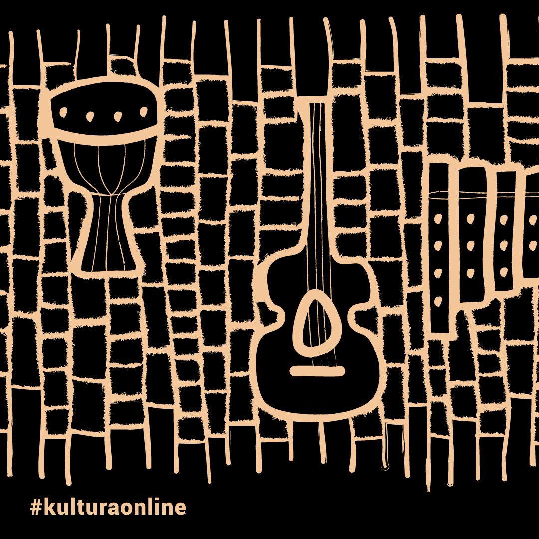 grafika na czarnym tle. jasne kontury instrumentów - gitary i bębna. napis #kulturaonline
