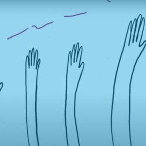 grafika - sześć rąk ustawionych od najmniejszej do największej na niebieskim tle