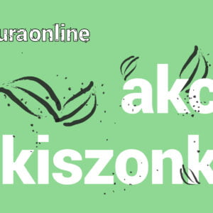 grafika promująca wydarzenie: na zielonym tle trzy pary atramentowych liści. Wielki napis akcja kiszonka wyrównany do prawej. W lewym górnym rogu hasztag kultura online