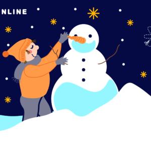 dziecko w pomarańczowej kurce i czapce  dodaje bałwanowi nos z marchewki. Rozgwieżdzone niebo, wokół pełno śniegu. W lewym górnym rogu hasztag kultura online