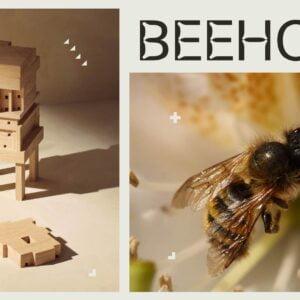 Grafika składająca się z dwóch zdjęć - na jednym z nich widoczna jest pszczoła, na drugim - drewniany domek dla owadów zapylających oraz elementy do budowy takiego domku. Na grafice napis: BEEHOME.