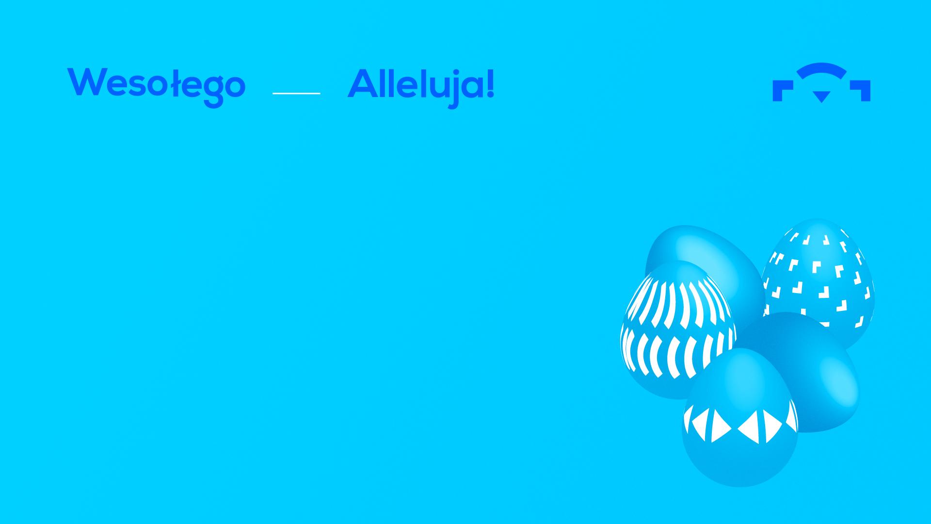 niebieska kartka świąteczna z niebieskimi jajkami po prawej stronie. U góry napis Wesołego Alleluja