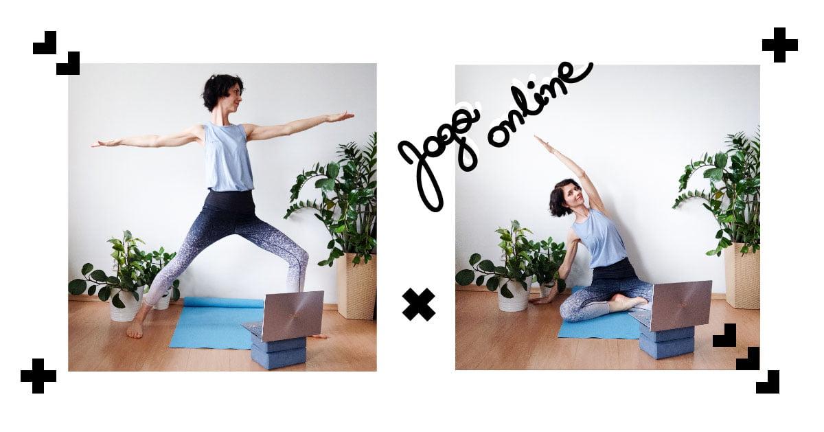 dwa obrazki, na obydwu ta sama kobieta ćwicząca jogę. na podłodze niebieska mata, wokół rośliny. przed kobietą na niewielkiej podstawce laptop.napis joga online