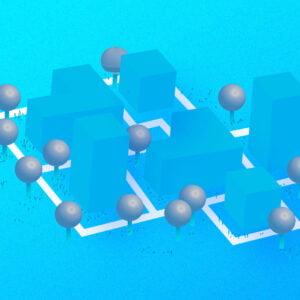 grafika w kolorystyce jasnoniebieskiej, z elemantami szarego i białego. na jasnoniebieskim tle jasnoniebieskie prostopadłościany. pomiędzy nimi szare kule. schematyczny, uproszczony plan osiedla mieszkaniowego z alejkami i drzewami