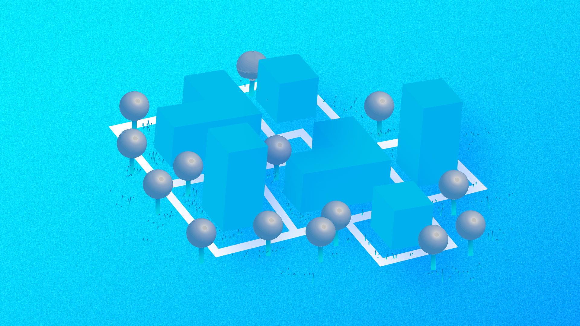 grafika w kolorystyce jasnoniebieskiej, z elementami szarego i białego. na jasnoniebieskim tle jasnoniebieskie prostopadłościany. pomiędzy nimi szare kule. schematyczny, uproszczony plan osiedla mieszkaniowego z alejkami i drzewami