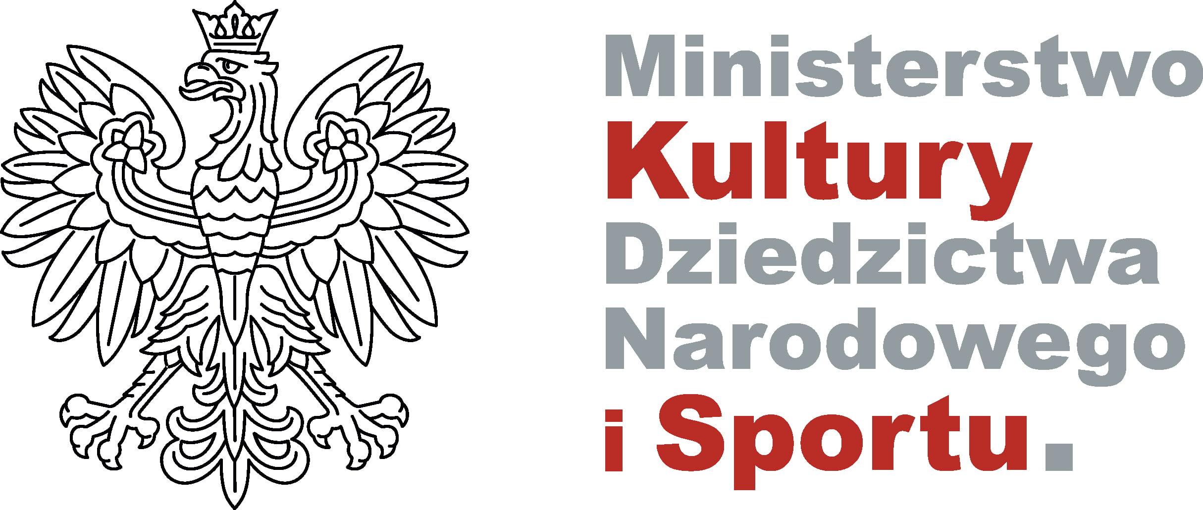 Orzeł RP oraz logo Ministerstwa Kultury, Dziedzictwa Narodowego i Sportu