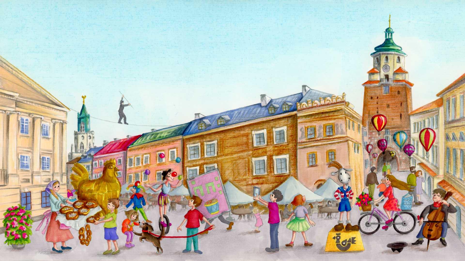 ilustracja przedstawiająca Rynek Starego Miasta w Lublinie, pełen ludzi i atrakcji takich jak sztukmistrze, żonglerzy, grajkowie czy złota kura Jarmarku Jagiellońskiego