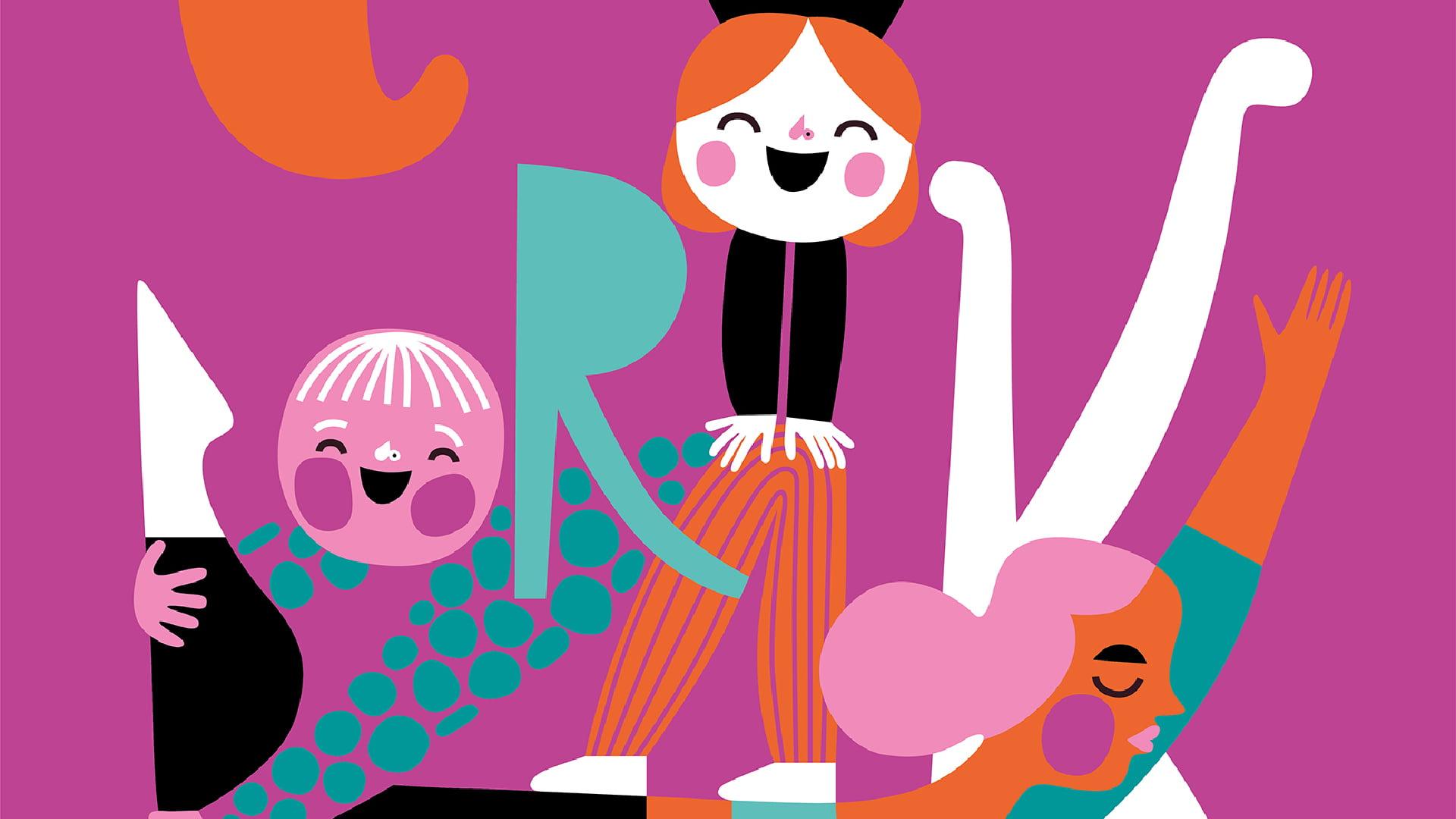 Grafika przedstawia trzy dziewczęce twarze oraz różne graficzne elementy.
