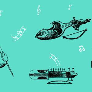 Ilustracje instrumentów oraz nut na niebieskim tle.