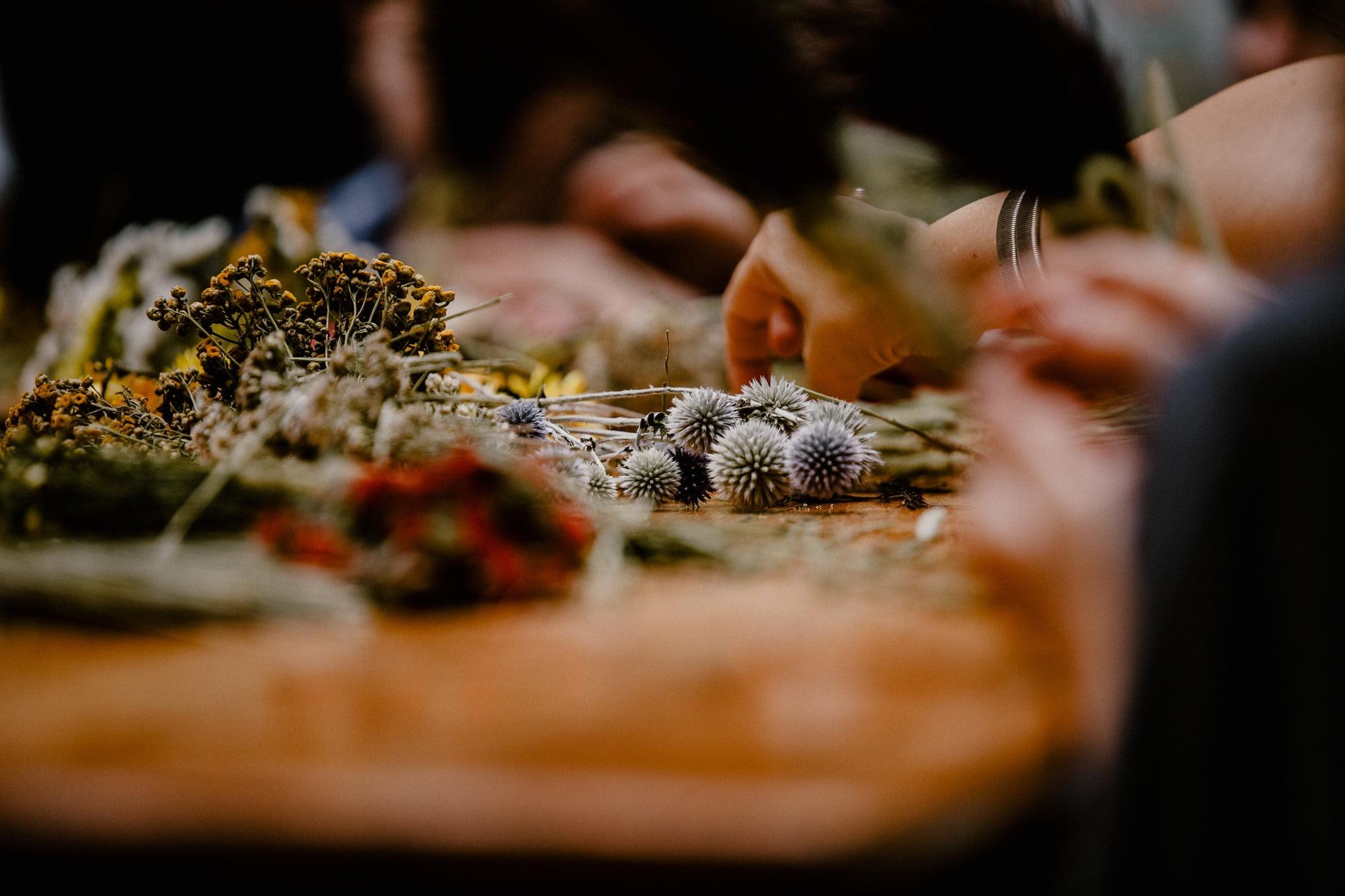 Kwiaty i zioła leżące na stole